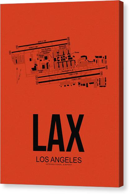 Travel Canvas Print - Lax Los Angeles Airport Poster 4 by Naxart Studio