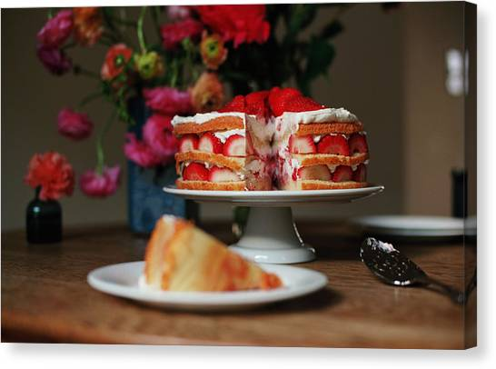 Vase Of Flowers Canvas Print - Layered Strawberry Cake With Background by Katie Baxter