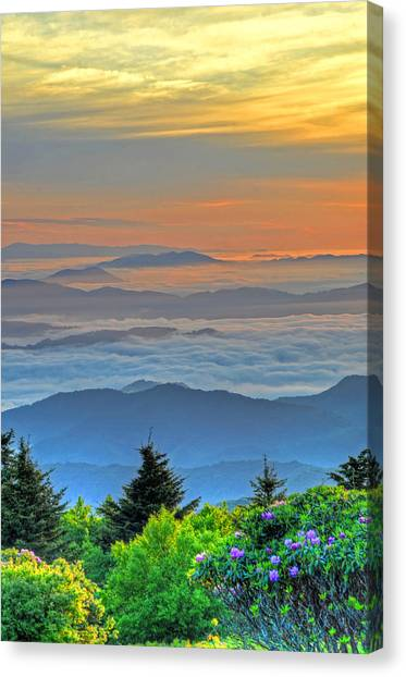 Layers Of Sunrise Canvas Print by Mary Anne Baker