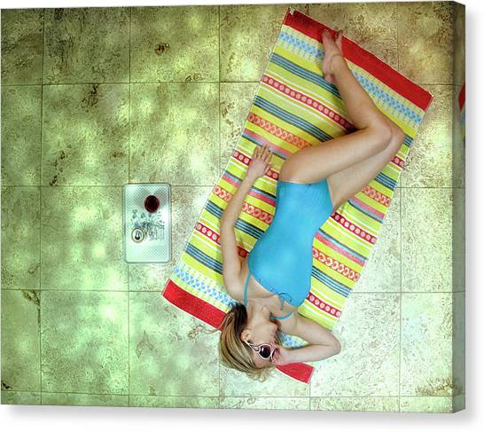Vacation Canvas Print - Lazing By Hockney\'s Swimming Pool by Kenp