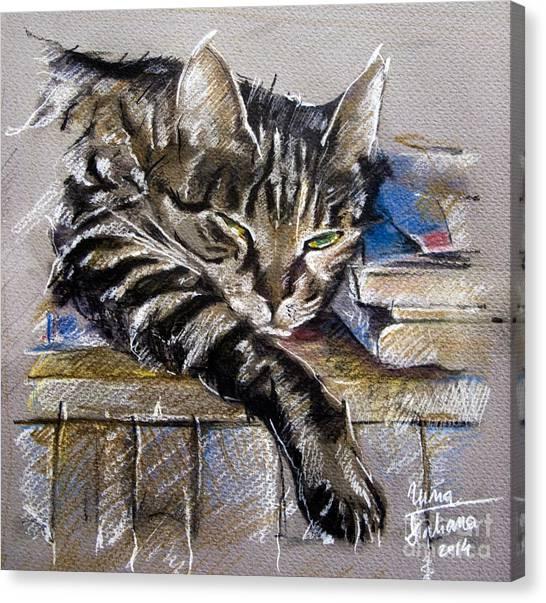 Lazy Cat Portrait - Drawing Canvas Print