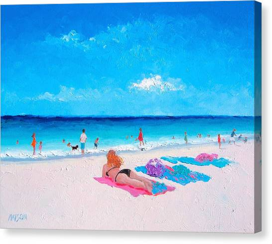 People On Beach Canvas Print - Lazy Day by Jan Matson