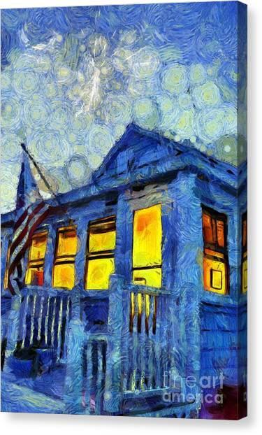 Cottage Style Canvas Print - Lazy Daze Beach Cottage On Fourth Of July by Edward Fielding