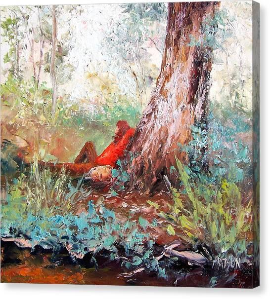 Girl In Landscape Canvas Print - Lazy Summer's Day By Jan Matson by Jan Matson