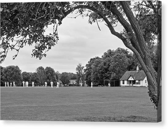 Cricket Club Canvas Print - Lazy Sunday Afternoon - Cricket On The Village Green Bw by Gill Billington