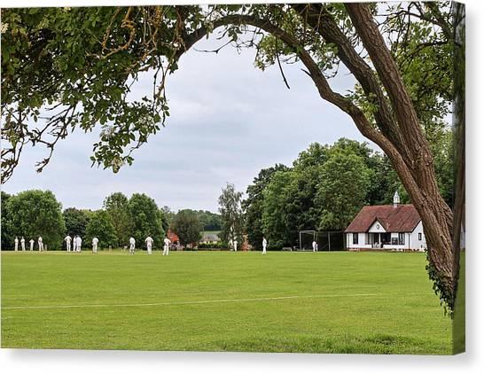 Cricket Club Canvas Print - Lazy Sunday Afternoon - Cricket On The Village Green by Gill Billington