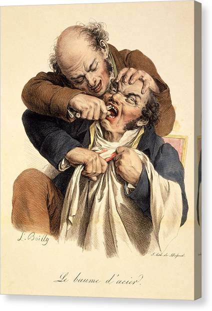 Dentists Canvas Print - Le Baume Lacier - Having A Tooth by Louis Leopold Boilly