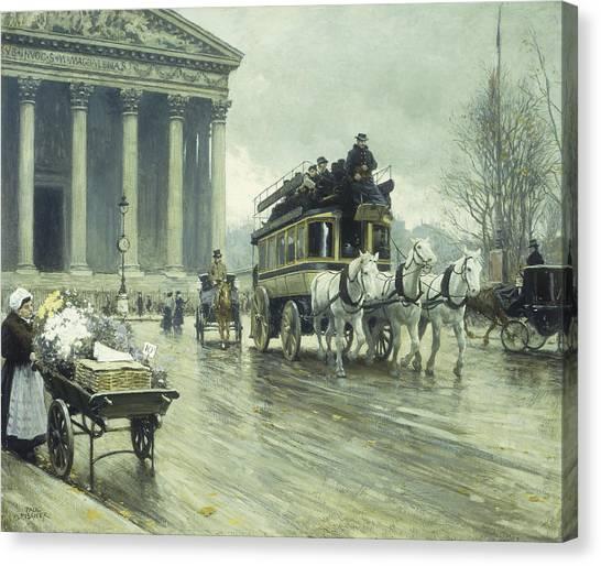 Murky Canvas Print - Le Boulevard A La Madeleine by Paul Fischer