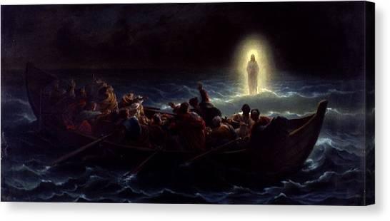 Le Christ Marchant Sur La Mer Canvas Print