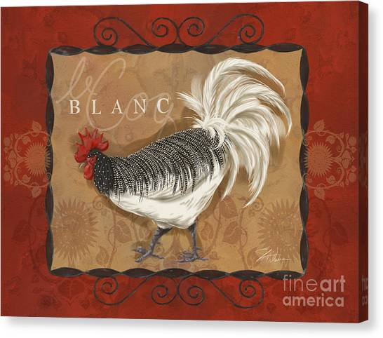 Le Coq Rooster Blanc Canvas Print