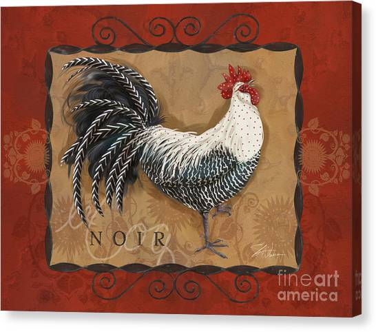 Le Coq Rooster Noir Canvas Print