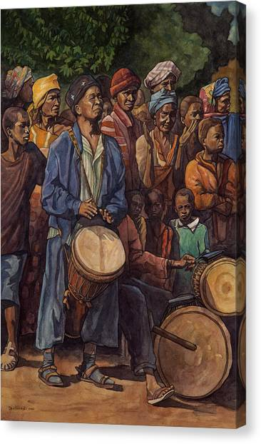 Percussion Instruments Canvas Print - Le Maitre A Sangbarala by Dave Kobrenski