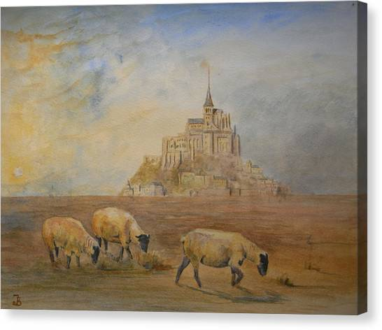 Saints Canvas Print - Le Mont Saint Michel by Juan  Bosco