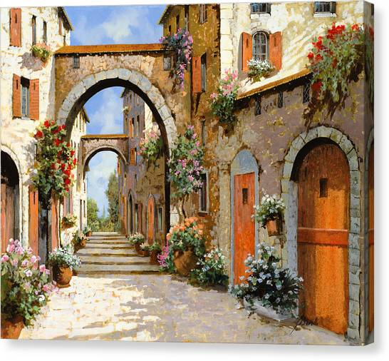 Villages Canvas Print - Le Porte Rosse Sulla Strada by Guido Borelli