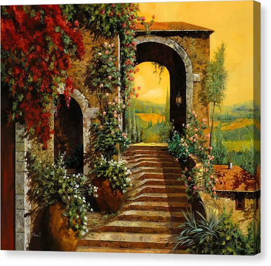 Wine Art Canvas Print - Le Scale   by Guido Borelli
