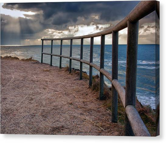 Rail By The Seaside Canvas Print
