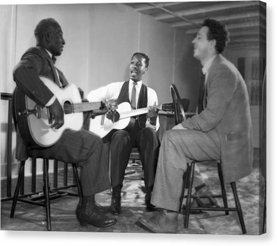 Folk Singer Canvas Print - Leadbelly, Josh White, Nicholas Ray by Underwood Archives