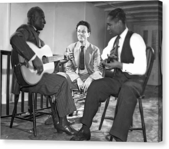 Folk Singer Canvas Print - Leadbelly, Nicholas Ray, Josh White by Underwood Archives