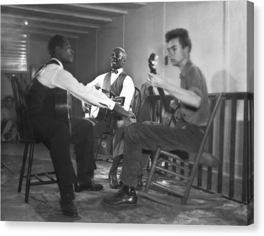 Folk Singer Canvas Print - Leadbelly, White, Pete Seeger by Underwood Archives