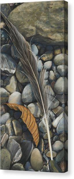 Leaf And Feather Canvas Print