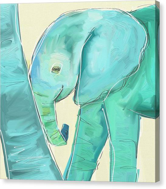 Large Mammals Canvas Print - Leaning Baby Elephant by Cathy Walters