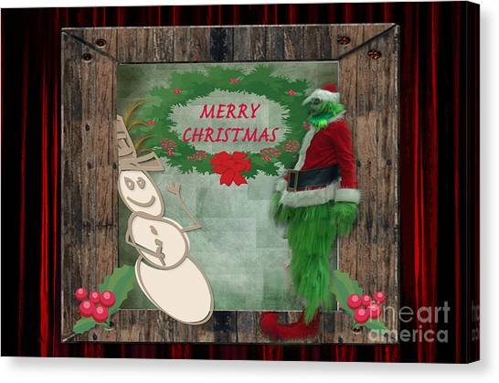 Grinch Canvas Print - Leaning Into Christmas by Donna Brown