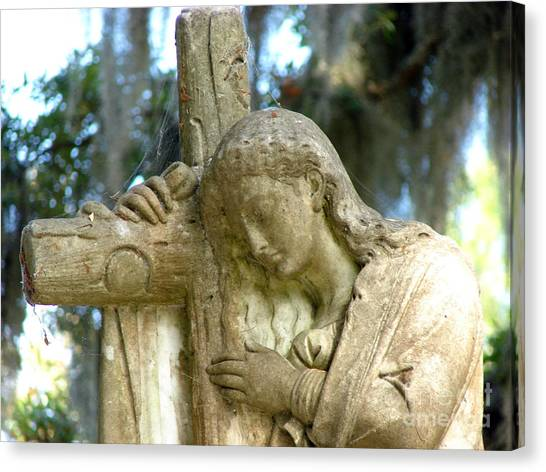 Leaning On The Cross Canvas Print
