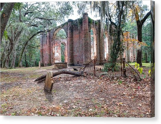 Leaning Tomb - Old Sheldon Church Ruins Canvas Print
