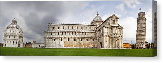 Romanesque Art Canvas Print - Leaning Tower Of Pisa And Cathedral Square by Susan Schmitz