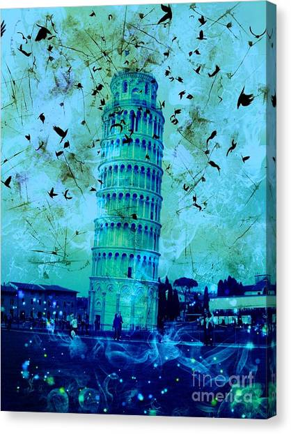 Leaning Tower Of Pisa 3 Blue Canvas Print
