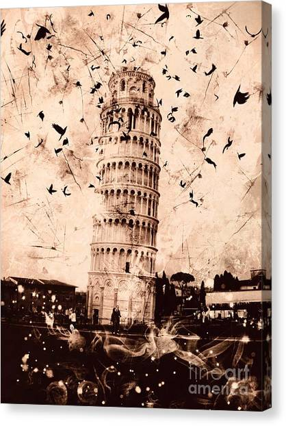 Leaning Tower Of Pisa Sepia Canvas Print
