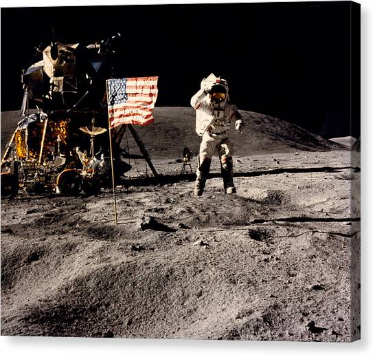 Space Suit Canvas Print - Leaping Lunar Flag Salute by Underwood Archives