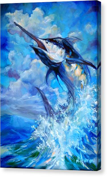 Spearfishing Canvas Print - Leaping Marlin by Tom Dauria