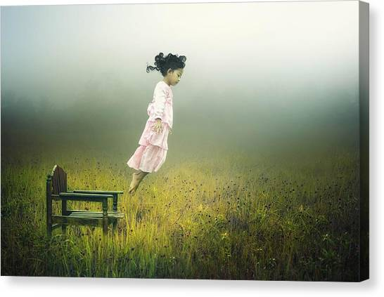 Floating Girl Canvas Print - Learn To Fly by Pink Sword