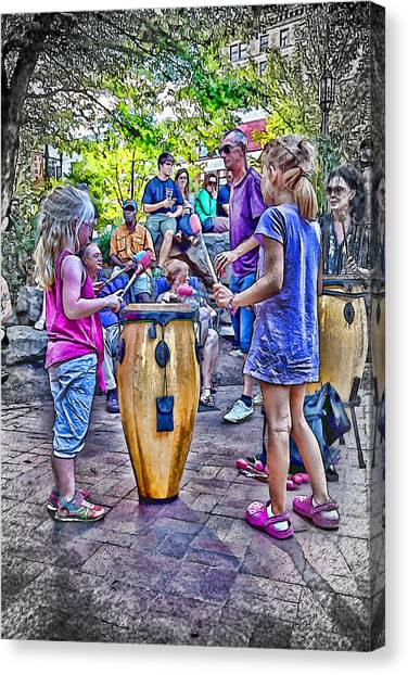 Learning The Drums Young Canvas Print by John Haldane