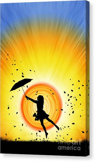 Umbrella Canvas Print - Learning To Fly by Tim Gainey