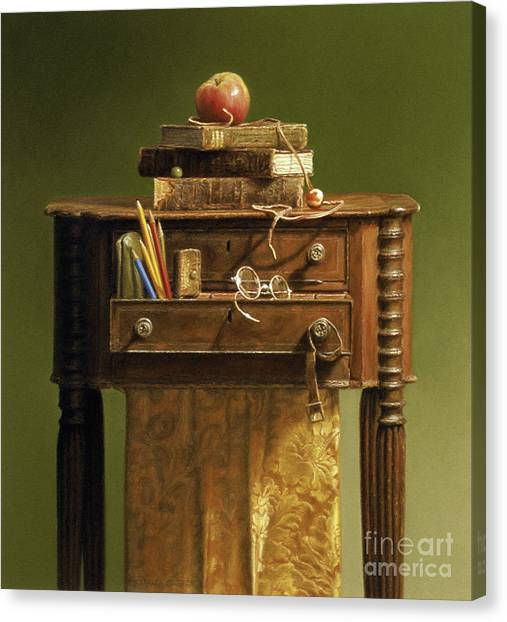 Leather Bound Canvas Print by Barbara Groff