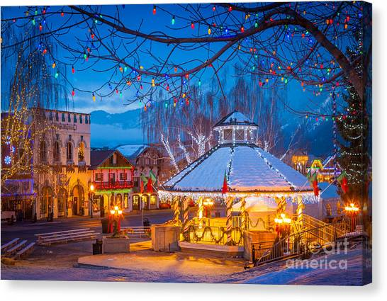 christmas tree shop canvas print leavenworth gazebo by inge johnsson