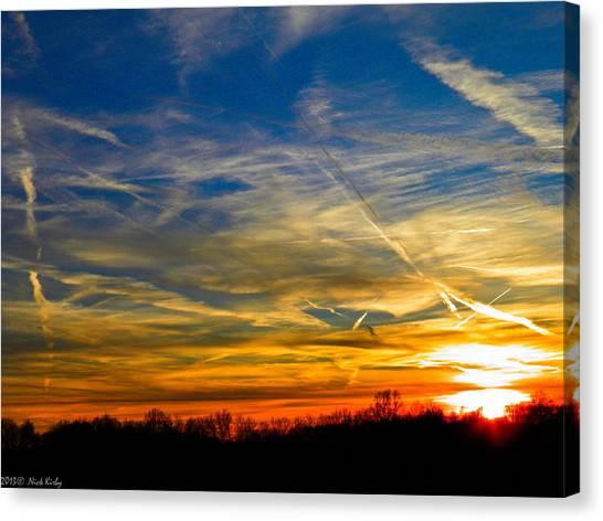 Leavin On A Jetplane Sunset Canvas Print