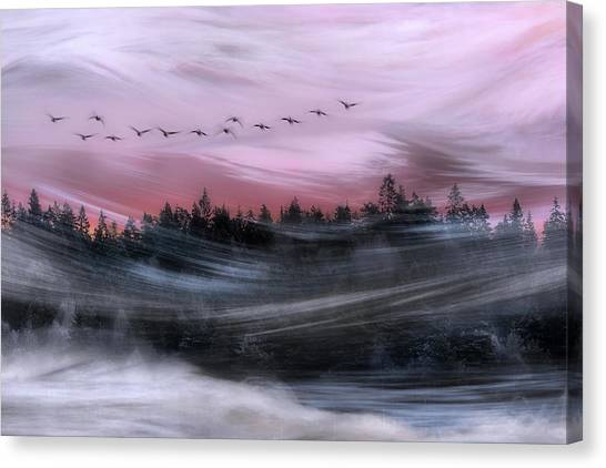 Geese Canvas Print - Leaving At Dawn by Bjorn Emanuelson