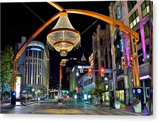 Cleveland State University Canvas Print - Leaving Playhouse Square by Frozen in Time Fine Art Photography