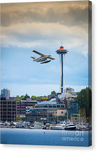 Space Needle Canvas Print - Leaving Seattle by Inge Johnsson