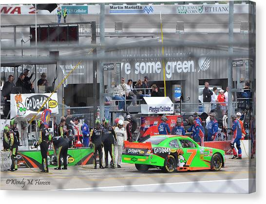 Danica Patrick Canvas Print - Leaving The Pits by Wendy Hansen-Penman