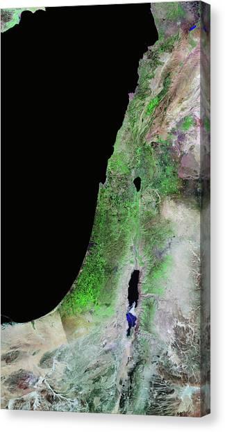 Syrian Canvas Print - Lebanon And Israel by Nasa/science Photo Library