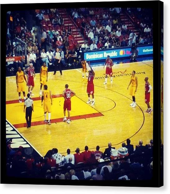 Basketball Teams Canvas Print - #lebron Always At The Line. #miamiheat by Allyn Alford