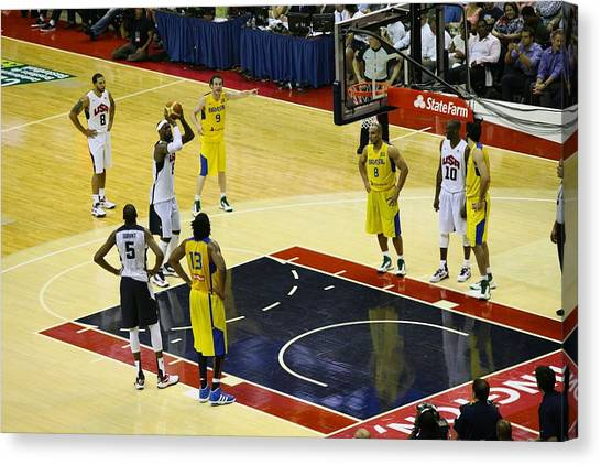 Kevin Durant Canvas Print - Lebron Free Throw by Steven Hanson