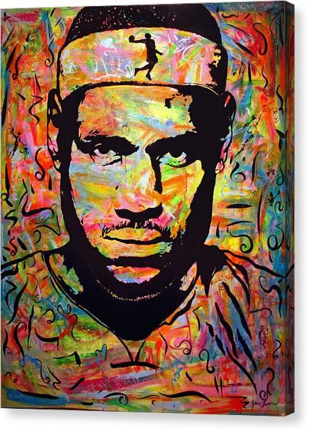 Dwayne Wade Canvas Print - Lebron James by Jean P Losier