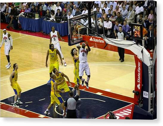Basketball Teams Canvas Print - Lebron Olympic Layup by Steven Hanson