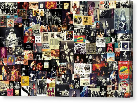 Music Canvas Print - Led Zeppelin Collage by Taylan Apukovska