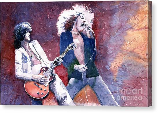 Led Zeppelin Canvas Print - Led Zeppelin Jimmi Page And Robert Plant  by Yuriy Shevchuk